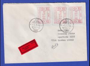 Portugal Frama-ATM 1981 Aut.-Nr.003 Eil-Brief mit 3 ATM vom OA und Orts-O 3.2.83