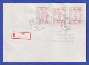 Portugal Frama-ATM 1981, R-Brief mit 3 ATM 003 102,0 vom OA und Orts-O 3.2.83