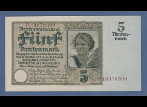 Banknote Deutsches Reich Deutsche Rentenbank 5 Rentenmark KN 8-stellig braun
