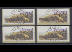 Zypern Amiel-ATM 1999, Mi-Nr. 2, Auflage B Porto-Satz 4 Werte 16-26-31-36 ET-O