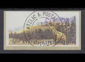 Zypern Amiel-ATM 1999, Mi-Nr. 2, Auflage B Wert 0,21 mit ET-O