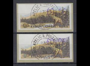Zypern Amiel-ATM 1999, Mi-Nr. 2 mit ET-O je eine ATM Auflage A und B !