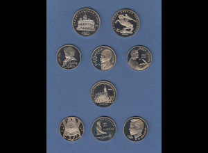 Russland (Sowjetunion) Lot 9 Gedenkmünzen PP, fast alle 1991, eine 1983