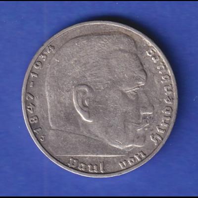 Deutsches Reich 2-Reichsmark Silbermünze Hindenburg 1936 J SELTEN !!!