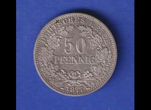 Deutsches Kaiserreich Münze 50 Pfennig 1877 B