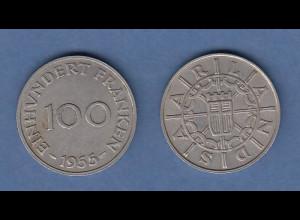 Saarland Kursmünze 100 Franken 1955 sehr schön - vorzüglich