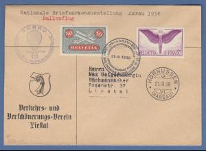 Schweiz Aaarau Ausstellung 1938, Ballonpost-Beleg, Hornussen gel. nach Liestal