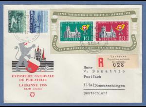 Schweiz 1955 Blockausgabe Lausanne Mi.-Nr. Block 15 auf R-Brief nach D