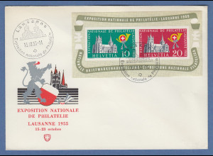 Schweiz 1955 Blockausgabe Lausanne Block 15 auf Ausstellungs-Schmuckbrief