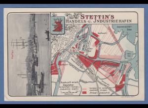 Stettin Handels und Industriehafen interssante alte Postkarte mit Stadtplan 1931