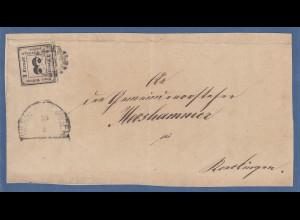 Bayern Portomarke Nr.1 (mit unauffälligem Einriss) auf großem Briefausschnitt.