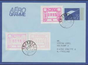 Norwegen Frama-ATM 1978, Automat 05, Brief mit 3 ATM in lilarot und BRAUNROT !!