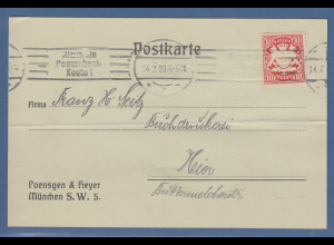 Bayern Wappen 10Pfg. Mi.-Nr. 56Bxa auf Postkarte