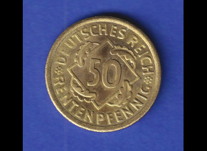 Deutsches Reich Kursmünze Weimarer Republik. Ähren, 50 Pfennig 1924 A vz !