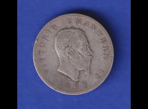 Italien Kursmünze 1 Lira Vittorio Emanuele II. 1863
