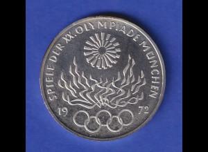 Olympische Spiele 1972, 10DM Silbermünze Olympisches Feuer in PP, München J