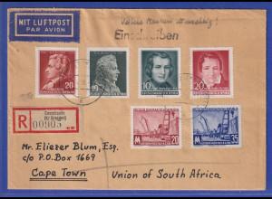 DDR 1956 R-Brief gelaufen von Cossebaude nach Kapstadt / Südafrika