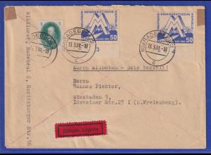 DDR 1951 Eil-Brief gelaufen von Radebeul nach Wiesbaden