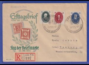 DDR 1950 Akademie 3 Werte auf Eil-Brief gelaufen von Dresden nach Hamburg