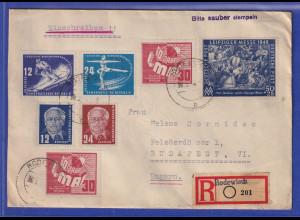 DDR 1950 R-Brief gelaufen von Rodewisch nach Budapest