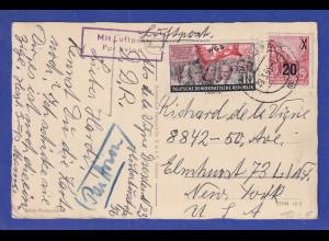 DDR 1955 Luftpost-Postkarte gelaufen von Dresden in die USA