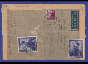 DDR 1951 Dt.-Chines. Freundschaft 50Pfg-Wert 2x auf Aerogramm nach New York