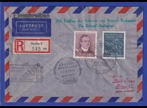 DDR 1957 R- Erstflugbrief SABENA Brüssel-Budapest