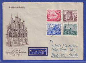 DDR 1953 Frankfurt / Oder Mi.-Nr. 358-361 auf FDC gelaufen nach Angola !