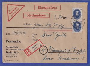 DDR 1951 4 Werte Akademie auf Nachnahme-Brief gel. von Berlin n. Schwarzenberg