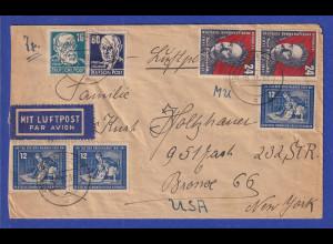 DDR 1951 Luftpostbrief gelaufen von Dresden nach New York / USA
