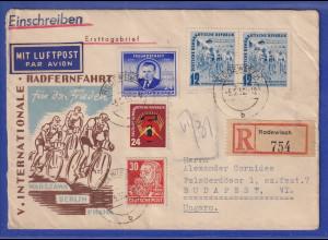 DDR 1952 R-Brief aus Rodewisch gelaufen nach Budapest / Ungarn. Rückseite !