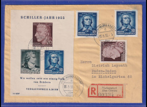 DDR 1955 Schiller-Block mit PLF IV auf R-Brief aus Markersdorf über Görlitz