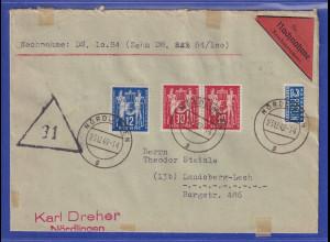 DDR- Briefmarken in Westdeutschland verwendet ! Nr.243-44 auf NN-Bf. Nördlingen