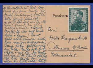 DDR 1951 Dt.-Chines. Freundschaft 12Pfg.-Wert als EF auf Postkarte