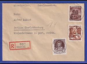 DDR 1955 R-Brief mit 2 Sperrwerten gelaufen von Greiz nach Berlin