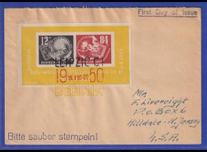 DDR 1950 DEBRIA-Block auf FDC, adressiert in die USA