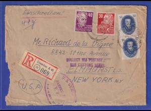 DDR 1950 Akademie 50Pfg ect. auf R-Luftpost-Brf aus Dresden gel. in die USA