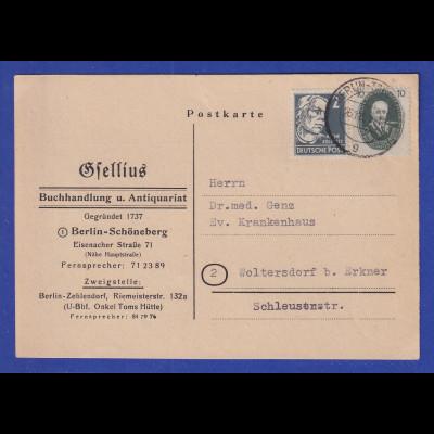 DDR 1950 Akademie 10Pfg in MIF auf Postkarte von Berlin nach Woltersdorf