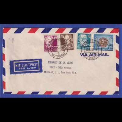 DDR 1953 Lp-Brief von Hellendorf Kr. Pirna gel. nach New York. U.a. Mi.-Nr. 331