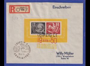 DDR 1950 DEBRIA-Block auf R-Brief gel. nach Wegeleben