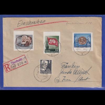 DDR 1954 R-Brief gel. von Oschatz nach Jever. Einzelmarken aus Marx-Block !