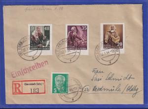 DDR 1954 R-Brief von Ebersbach nach Heidmühle. Einzelmarken aus Marx-Block !