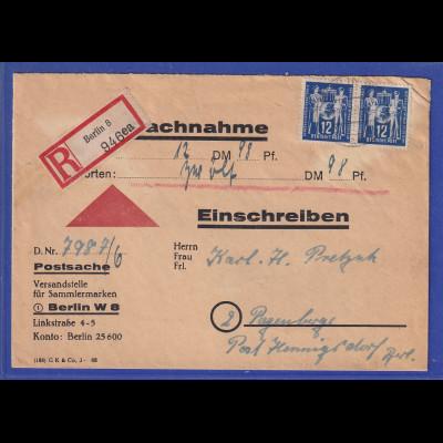 DDR 1950 R-NN-Brief gel. von Berlin nach Hennigsdorf. RÜCKSEITE beachten !