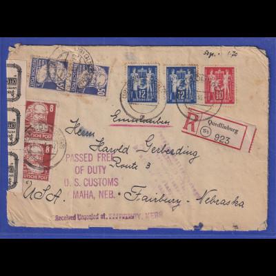DDR 1949 R-Brief gel. von Quedlinburg nach Fairbury / Nebraska / USA