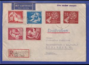 DDR 1950 R-Brief aus Rodewisch gel. nach Budapest. Gute Frankatur !