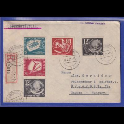 DDR 1951 R-Brief aus Rodewisch gel. nach Budapest. Block-Einzelmarken !