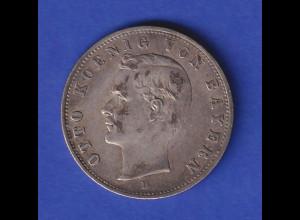 Deutsches Kaiserreich Bayern König Otto Silbermünze 2 Mark 1907 D