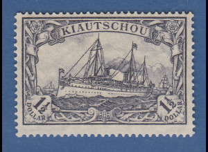 Deutsche Kolonien Kiautschou Schiffszeichnung 1 1/2 Dollar Mi.-Nr. 36 II B **