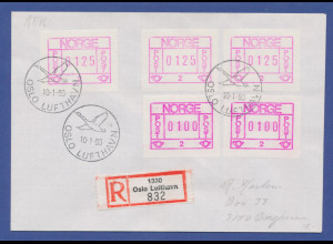 Norwegen Frama-ATM 1978, Automat 02, R-Brief mit 5 ATM, y-Papier