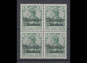 Deutsche Post in Marokko, 5 Pfennig-Wert mit Wz. Mi.-Nr. 35 Viererblock **